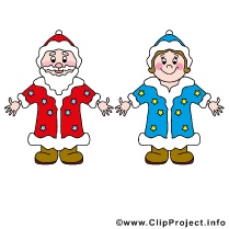Ded Moroz and Snegurochka Clip Art free