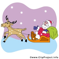 Deer and Santa Cartoon Clip Art free