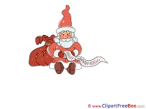 Reading Wish List Santa Clipart Christmas Illustrations