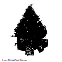 Silhouette Tree Pics Christmas Illustration