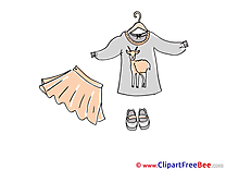 Women's Clothing Skirt Shoes printable Illustrations for free