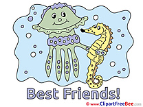 Sea Horse Medusa Clipart Best Friends Illustrations