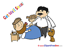 Boy Dog Father Get Well Soon Illustrations for free