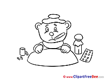 Drawing Bear Thermometer Clip Art download Get Well Soon