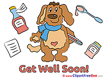 Puppy Medicine Pills printable Illustrations Get Well Soon