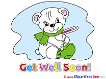 White Bear Thermometer Cliparts Get Well Soon for free