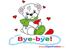 Bear Broken Heart Clipart Goodbye Illustrations