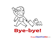 Suitcase Boy Dog Clipart Goodbye Illustrations