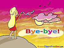 Woman Sky Clouds Birds free Illustration Goodbye