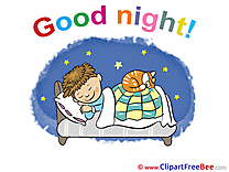 Bed Cat Boy Good Night download Illustration