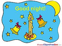 Bells Candle Moon Stars Pics Good Night Illustration