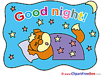 Fox Blanket Stars Moon Good Night Illustrations for free