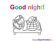 Kid Boy Cat Clipart Good Night Illustrations