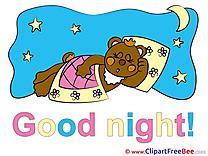 Pillow Bed Moon Stars Bear Pics Good Night Illustration