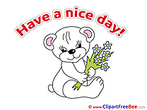 Bear Bouquet Have a Nice Day Clip Art for free