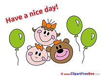 Children Bear Balloons free Illustration Have a Nice Day