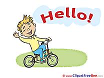 Bicycle Boy Pics Hello Illustration