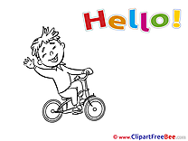 Boy Bicycle Hello free Images download