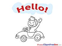 Car Driver Man Pics Hello Illustration