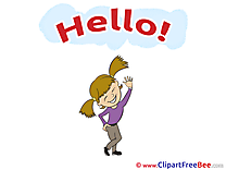 Child Girl Hello Clip Art for free