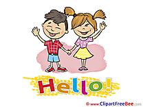 Children Boy Girl Hello Clip Art for free