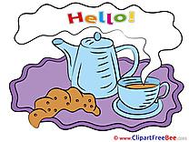 Croissant Kettle Coffee Pics Hello Illustration