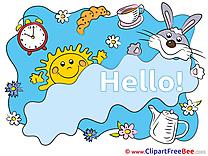 Flowers Kettle Tea Sun Rabbit free Illustration Hello