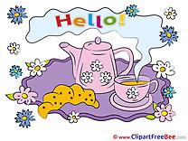 Good Morning Kettle Tea Croissant Hello Clip Art for free