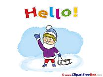 Sleigh Boy Winter free Cliparts Hello