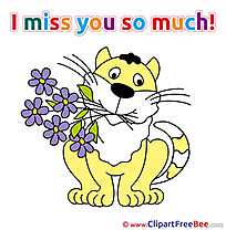 Cat Flowers printable I miss You Images