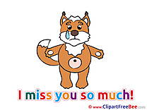 Fox I miss You Clip Art for free