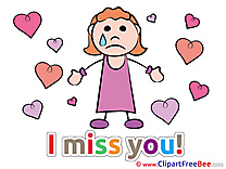 Girl Hearts Cliparts I miss You for free
