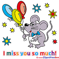Mouse Balloons free Illustration I miss You