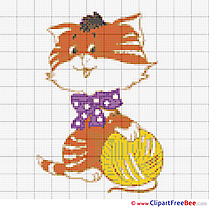Cat Ball of Yarn free printable Cross Stitches
