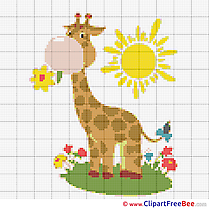 Giraffe Sun free Cross Stitch download