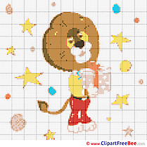 Lion free printable Cross Stitches