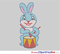 Rabbit Drum download Cross Stitch free