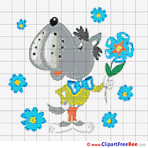 Wolf Cross Stitch printable free