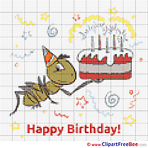 Ant with Cake Birthday Cross Stitches free