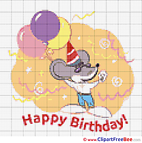 Mouse with Balloons Birthday free Cross Stitches