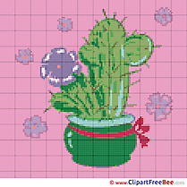 Cactus Flower Design Cross Stitches free