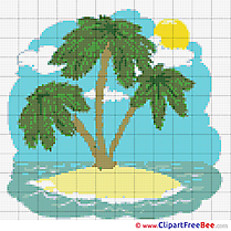 Island Palms Cross Stitch download free