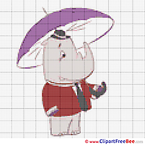 Rhino printable Cross Stitches free