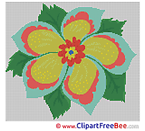 Cross Stitches Flower printable  for free