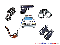 Police Car Pistol Handcuffs download printable Illustrations