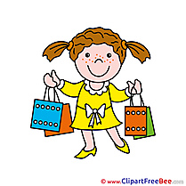 Shopping Girl printable Illustrations for free