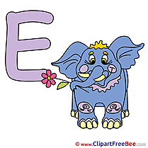 E Elephant Clipart Alphabet Illustrations