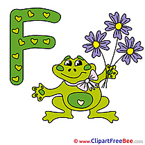 F Frog Pics Alphabet Illustration
