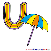 U Umbrella free Cliparts Alphabet