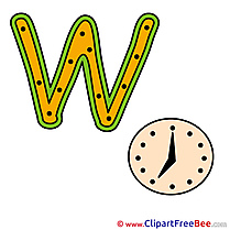 W Watch Pics Alphabet Illustration
